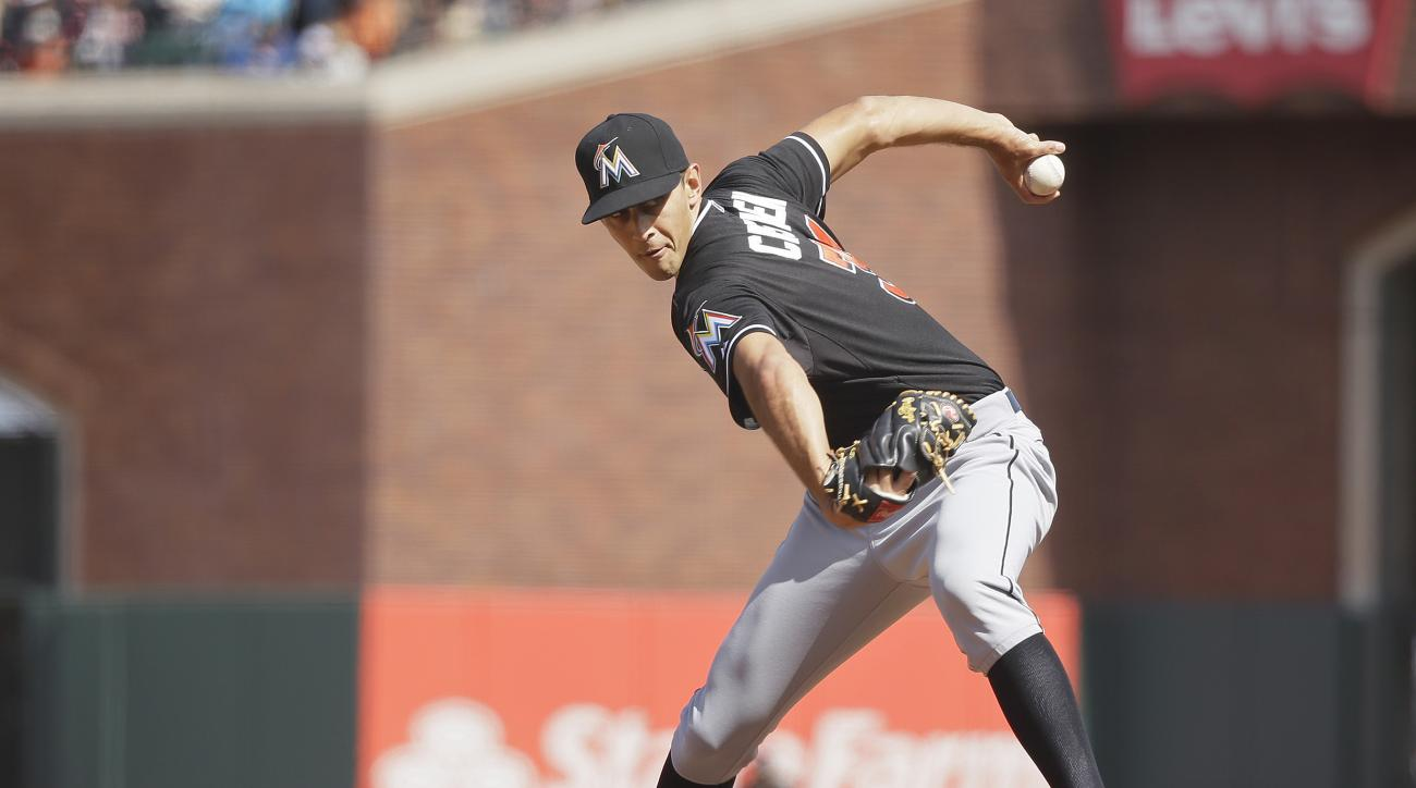 FILE - In this May 10, 2015, file photo, Miami Marlins relief pitcher Steve Cishek throws in the ninth inning of their baseball game against the San Francisco Giants, in San Francisco. Of all the moves Seattle made in the offseason, the one that could pro