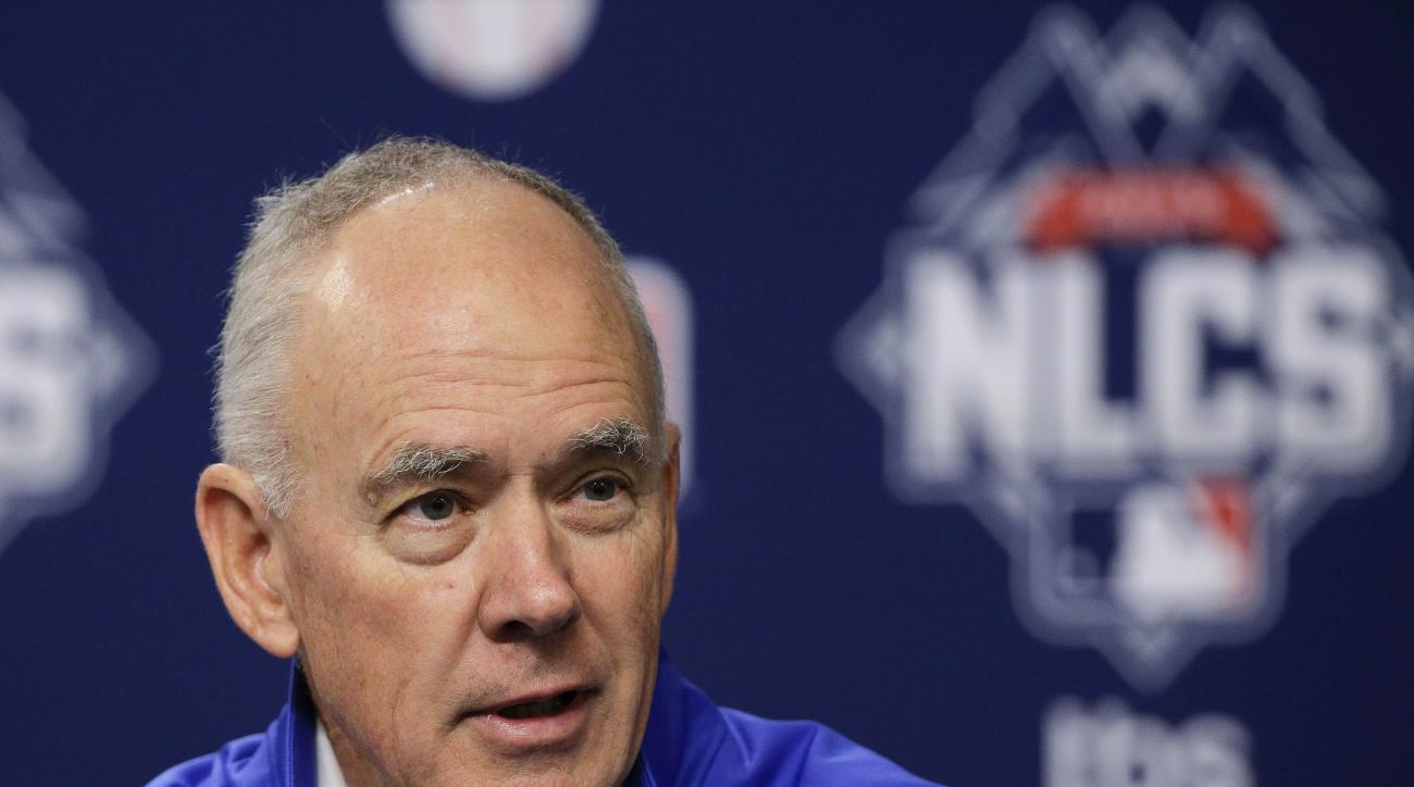 FILE - In this Friday, Oct. 16, 2015 file photo, New York Mets general manager Sandy Alderson answers questions for the media during a news conference in New York. New York Mets general manager Sandy Alderson says his long-term prognosis is good as he und