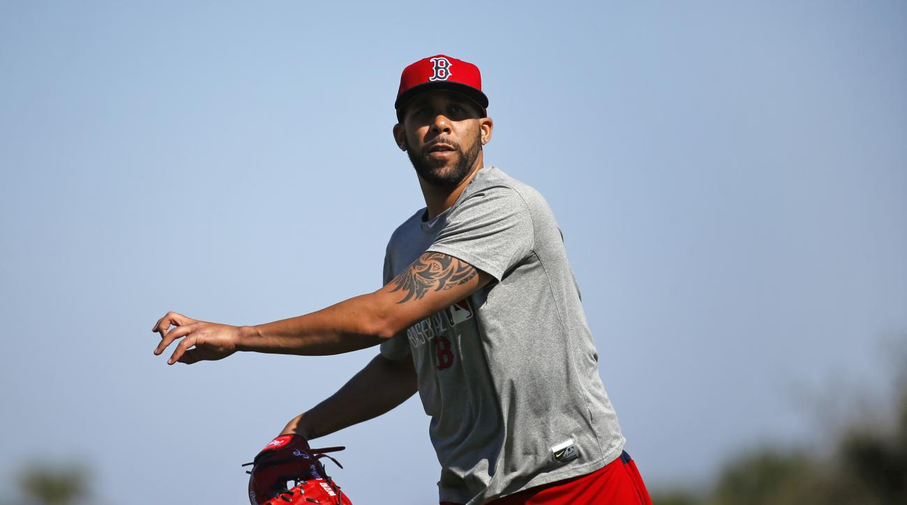 Boston Red Sox starting pitcher David Price follows through on a pitch during a spring training baseball practice in Fort Myers, Fla., Thursday, Feb. 18, 2016. Red Sox pitchers and catchers hold their first official workout on Friday. (AP Photo/Patrick Se