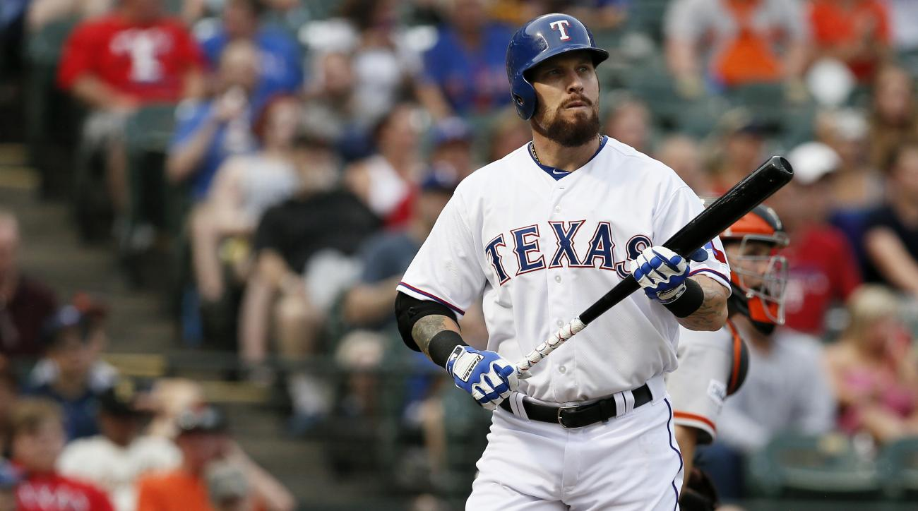 FILE - In this Friday, July 31, 2015 file photo, Texas Rangers' Josh Hamilton during an at bat against the San Francisco Giants in a baseball game in Arlington, Texas. Texas Rangers outfielder Josh Hamilton said Thursday, Feb. 18, 2016 he is dealing with