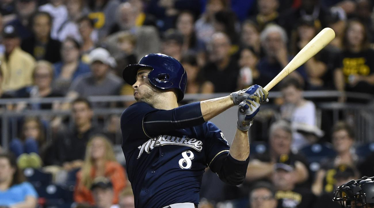 Milwaukee Brewers' Ryan Braun bats against the Pittsburgh Pirates during a baseball game, Thursday, Sept. 10, 2015, in Pittsburgh.  (AP Photo/Fred Vuich)
