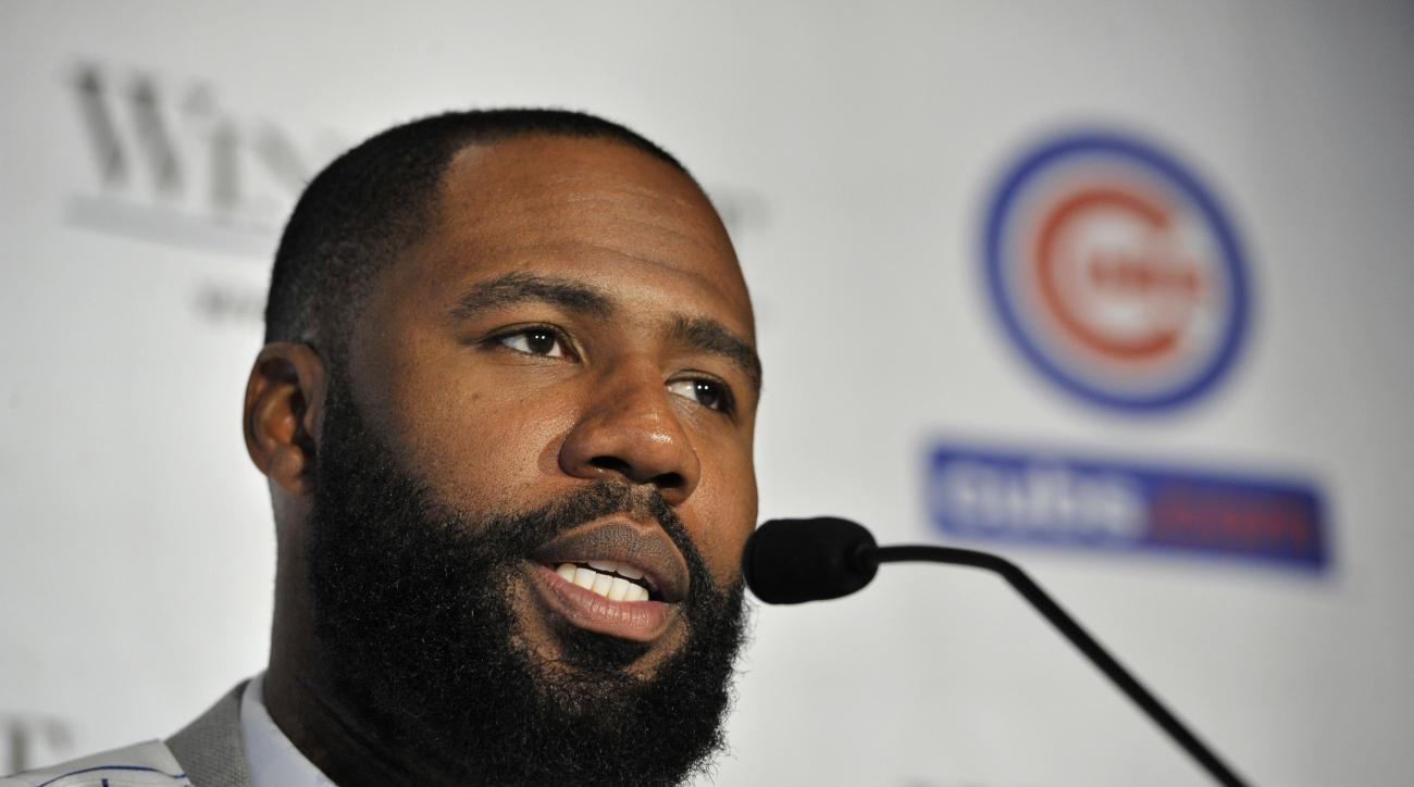 FILE - In this Dec. 15, 2015, file photo, newly acquired outfielder Jason Heyward speaks to the media during a news conference in Chicago. The first swing he took as a major leaguer, Jason Heyward homered against the Chicago Cubs. Six years later, he is t