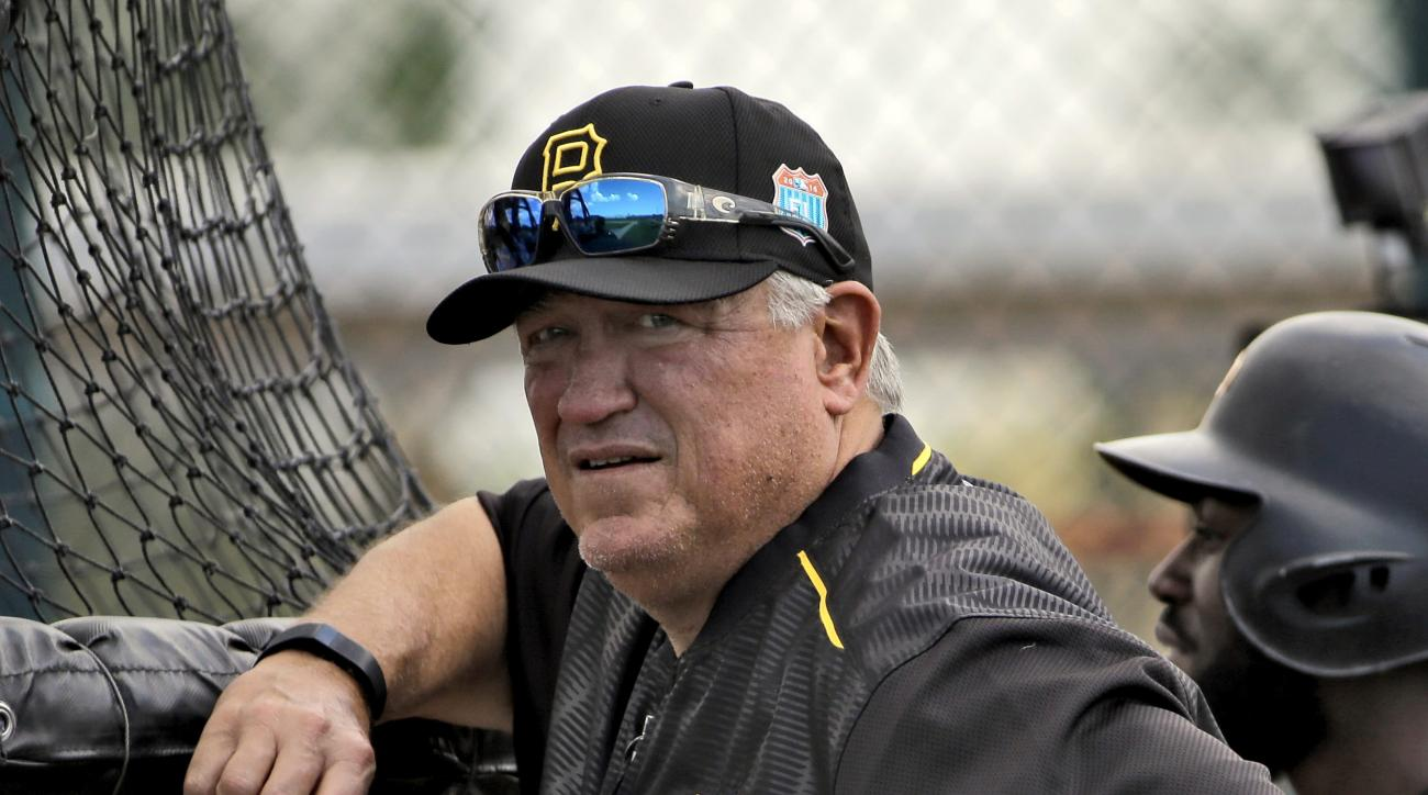 Pittsburgh Pirates manager Clint Hurdle watches batting practice during a spring training baseball workout Tuesday, Feb. 23, 2016, in Bradenton, Fla. (AP Photo/Chris O'Meara)
