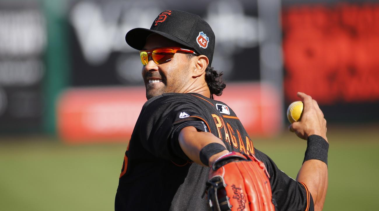 San Francisco Giants Angel Pagan throws during a spring training baseball workout, Tuesday, Feb. 23, 2016, in Scottsdale, Ariz.  (AP Photo/Matt York)