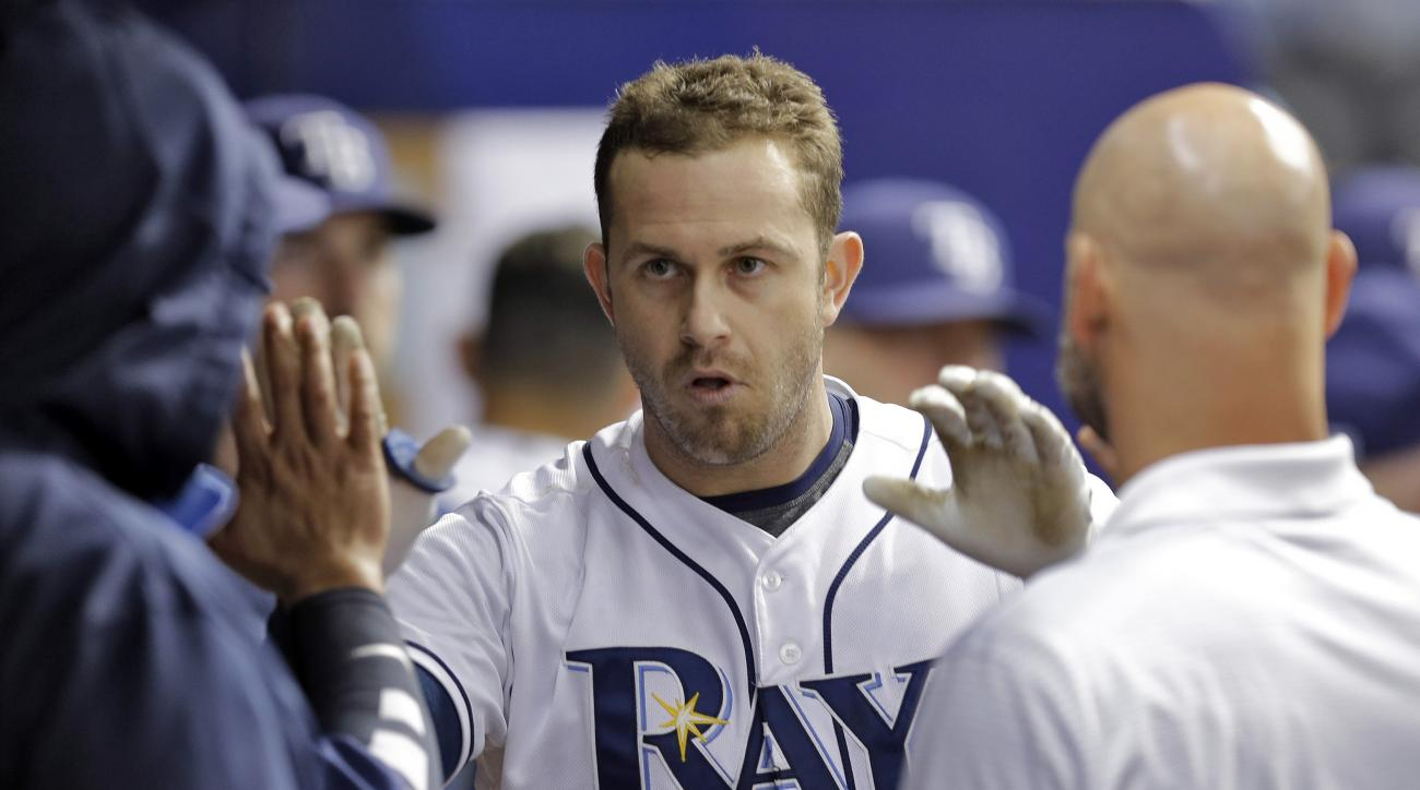 FILE - In this Aug, 26, 2015, file photo, Tampa Bay Rays' Evan Longoria, center, is greeted in the dugout by teammates after hitting a home run in the seventh inning of a baseball game against the Minnesota Twins in St. Petersburg, Fla. It's been an offse
