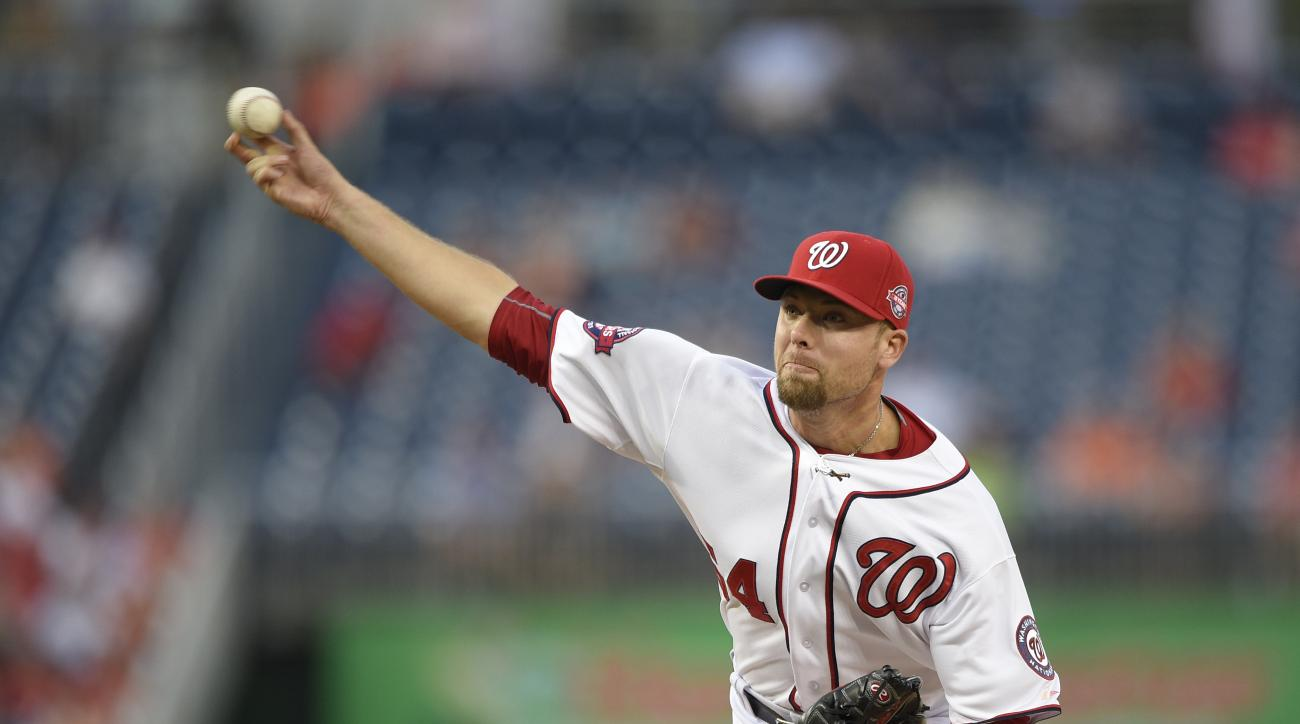 FILE - In this Sept. 24, 2015, file photo, Washington Nationals relief pitcher Blake Treinen (64) delivers a pitch against the Baltimore Orioles during an interleague baseball game, in Washington. Nationals reliever Blake Treinen wasn't sure what to make