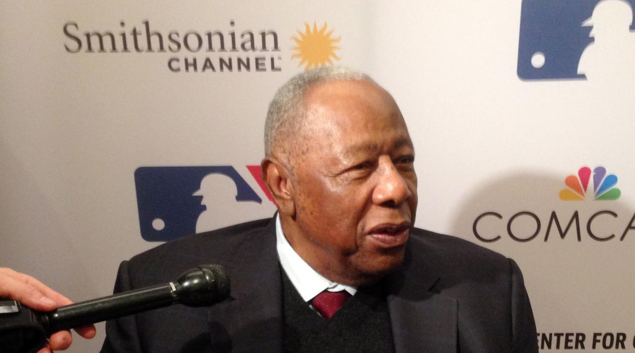 """In this Feb. 5, 2016 photo, Atlanta Braves Hall of Famer Hank Aaron speaks in Atlanta, Ga. Aaron attended the screening of the film """"The Hammer of Hank Aaron"""" which will premiere on the Smithsonian Channel on Monday, Feb. 29, 2016. (AP Photo/Charles Odum)"""