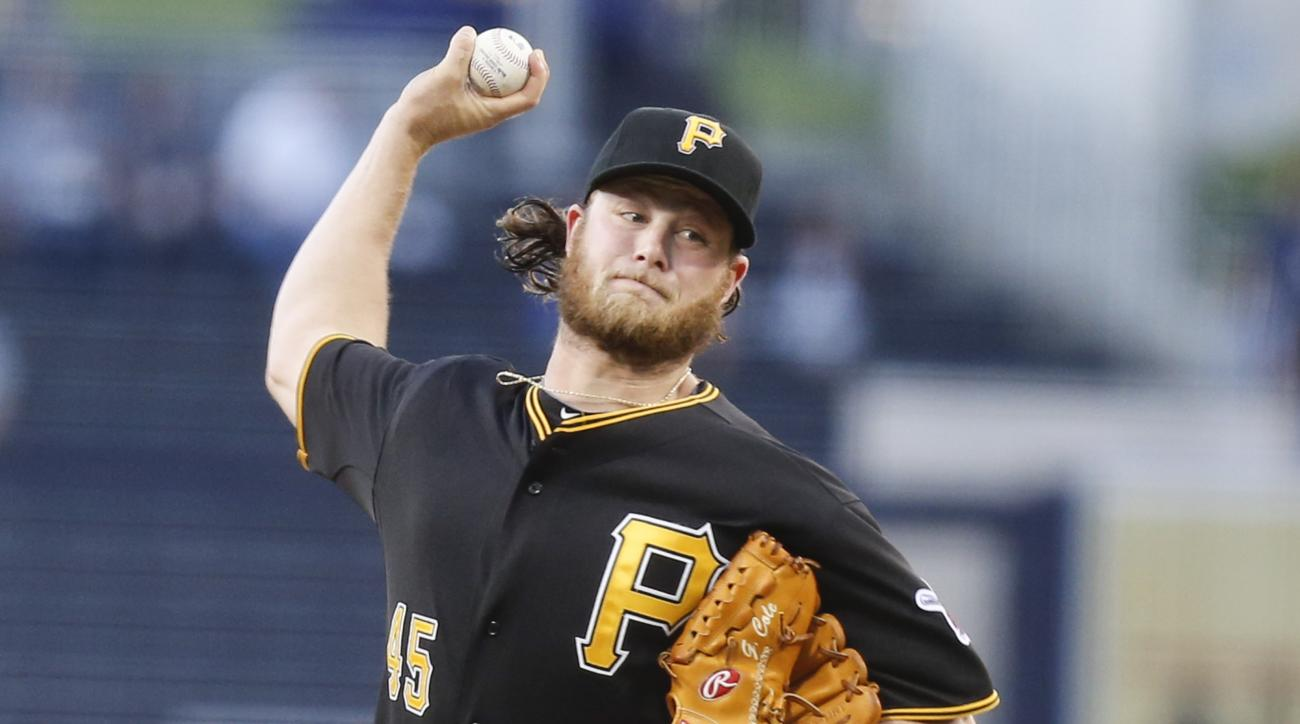 FILE - In this June 3, 2014, file photo, Pittsburgh Pirates starting pitcher Gerrit Cole throws against the San Diego Padres in the first inning of a baseball game in San Diego. Pirates general manager Neal Huntington on Sunday, Feb. 28, 2016, acknowledge