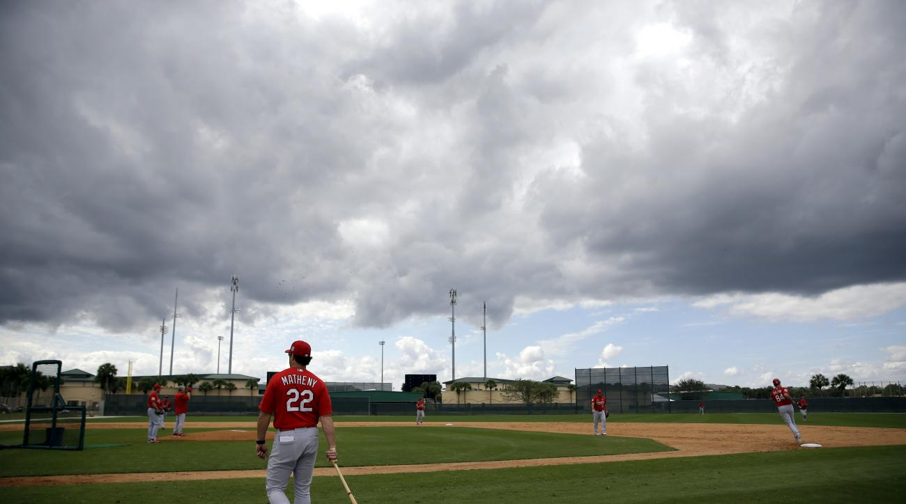 St. Louis Cardinals' Mike Matheny (22) walks onto the field between innings of a spring training intrasquad baseball game Monday, Feb. 29, 2016, in Jupiter, Fla. (AP Photo/Jeff Roberson)