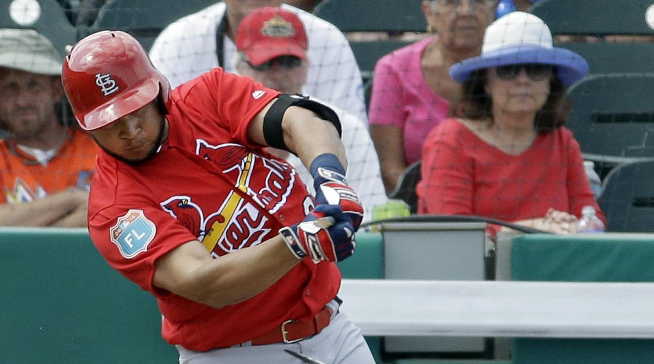 St. Louis Cardinals' Jhonny Peralta breaks his bat grounding out to end the top of the third inning of an exhibition spring training baseball game against the Miami Marlins Saturday, March 5, 2016, in Jupiter, Fla. (AP Photo/Jeff Roberson)