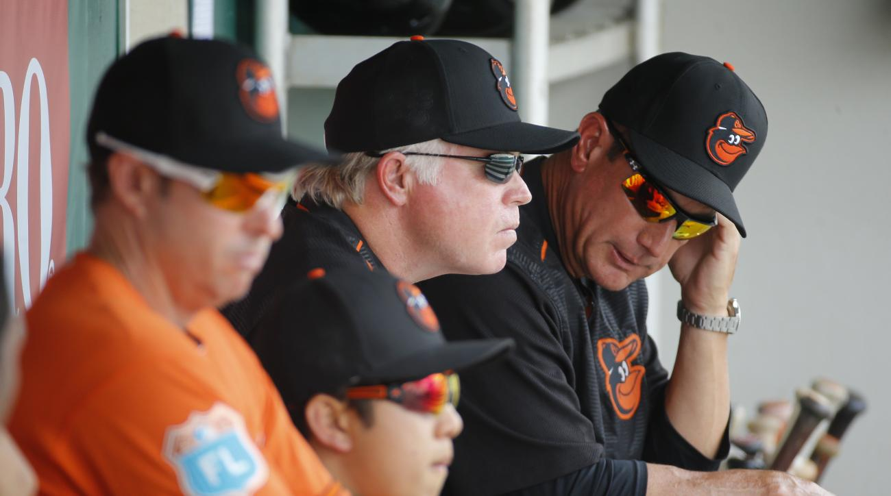 Baltimore Orioles manager Buck Showalter, center, sits in the dugout during a spring training baseball game against the Minnesota Twins in Fort Myers, Fla., Saturday, March 5, 2016. (AP Photo/Patrick Semansky)