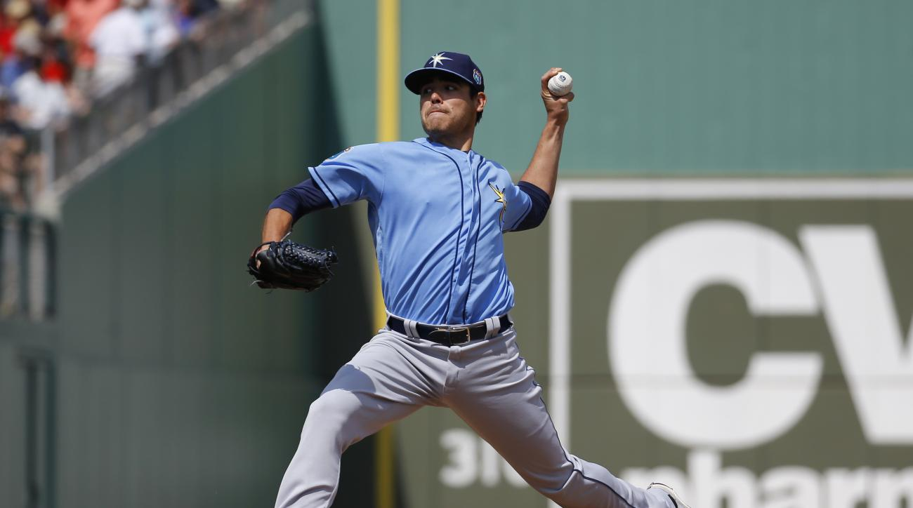 Tampa Bay Rays starting pitcher Matt Moore throws to the Boston Red Sox in the first inning of a spring training baseball game in Fort Myers, Fla., Monday, March 7, 2016. (AP Photo/Patrick Semansky)