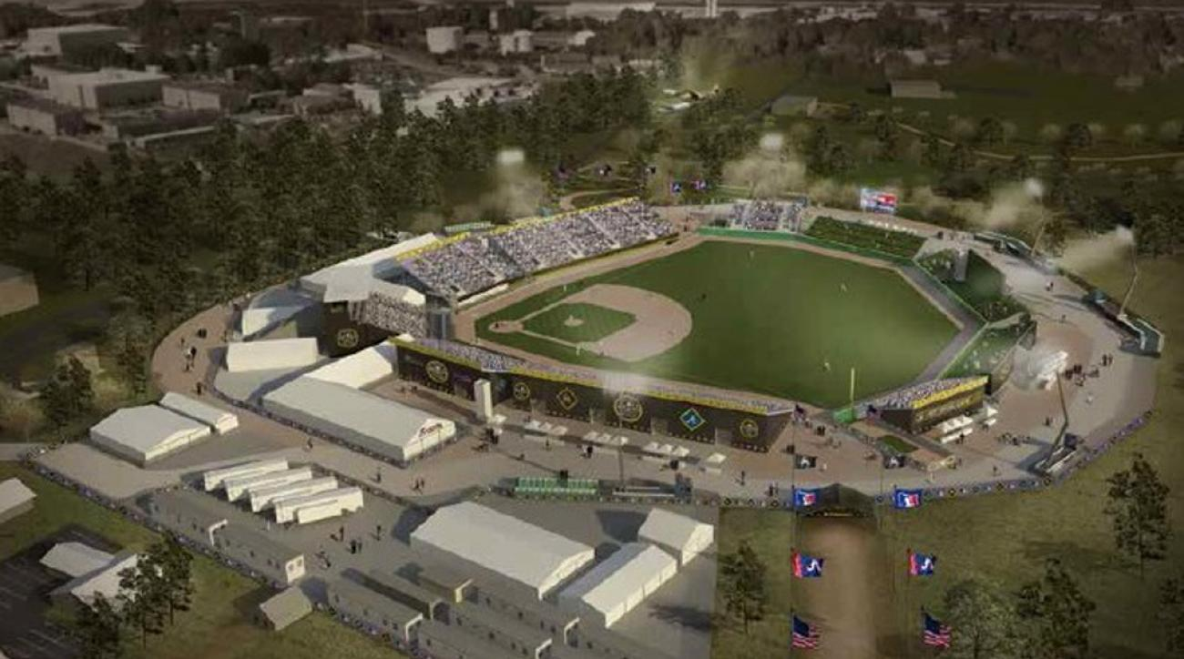 This artists rendering provide by Major League Baseball shows a proposed baseball ballpark at Fort Bragg, N.C. The Atlanta Braves and Miami Marlins will play on the U.S. military base on July 3 in a 12,500-capacity ballpark to be built with funding by Maj