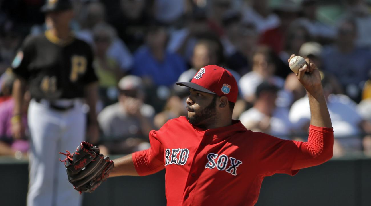 Boston Red Sox starting pitcher Edwin Escobar delivers to the Pittsburgh Pirates during the fifth inning of a spring training baseball game Wednesday, March 9, 2016, in Bradenton, Fla. (AP Photo/Chris O'Meara)