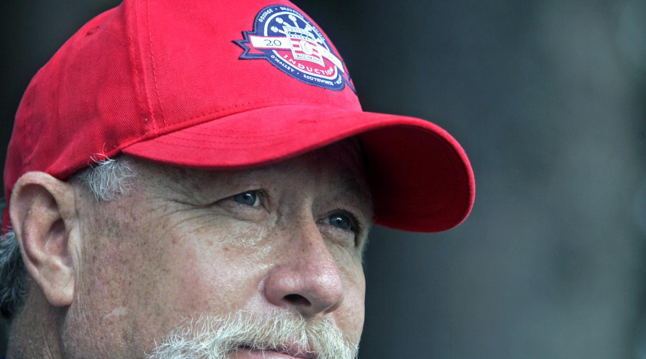 "FILE - In this Saturday, July 26, 2008 file photo, Rich ""Goose"" Gossage talks to reporters during the National Baseball Hall of Fame Invitational at Leatherstocking Golf Course in Cooperstown, N.Y., Saturday, July 26, 2008.  Hall of Famer Goose Gossage ha"