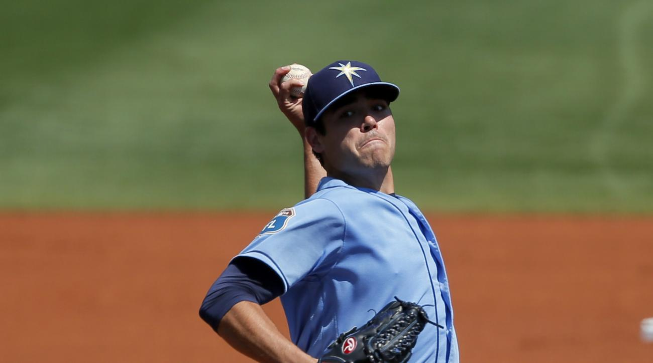 Tampa Bay Rays starting pitcher Matt Moore works against the New York Yankees in the first inning of spring training baseball game, Saturday, March 12, 2016, in Port Charlotte, Fla. (AP Photo/Tony Gutierrez)