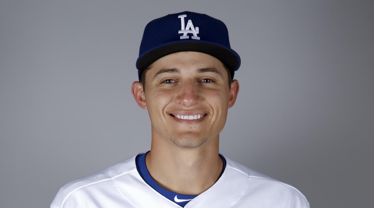 This is a 2016 photo of Corey Seager of the Los Angeles Dodgers baseball team. This image reflects the Los Angeles Dodgers active roster as of Saturday, Feb. 27, 2016, when this image was taken. (AP Photo/Chris Carlson)