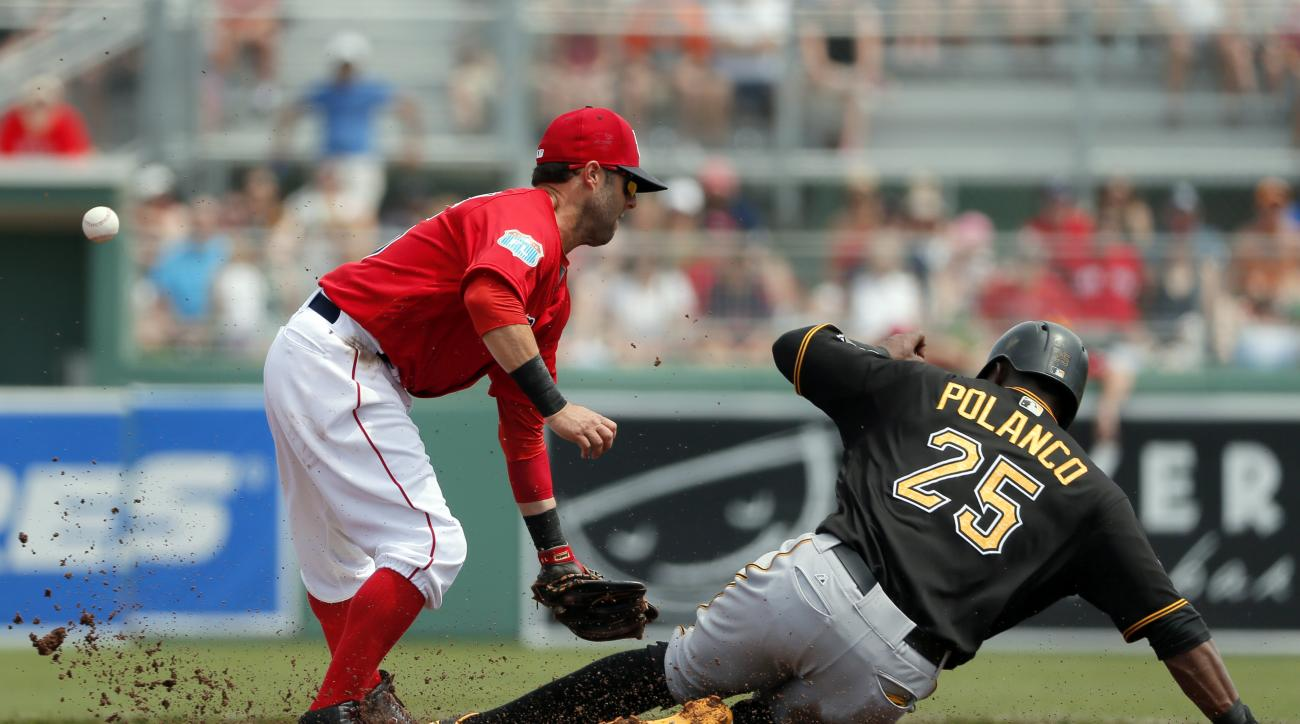 Boston Red Sox second baseman Dustin Pedroia is unable to handle the throw as Pittsburgh Pirates' Gregory Polanco (25) steals second with Jason Rogers at bat in the first inning of an interleague spring training baseball game, Monday, March 14, 2016, in F