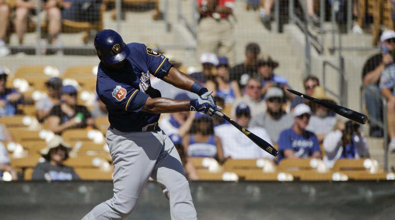 Milwaukee Brewers' Chris Carter breaks his bat during the fourth inning of a spring training baseball game against the Los Angeles Dodgers Monday, March 14, 2016, in Phoenix. (AP Photo/Jae C. Hong)