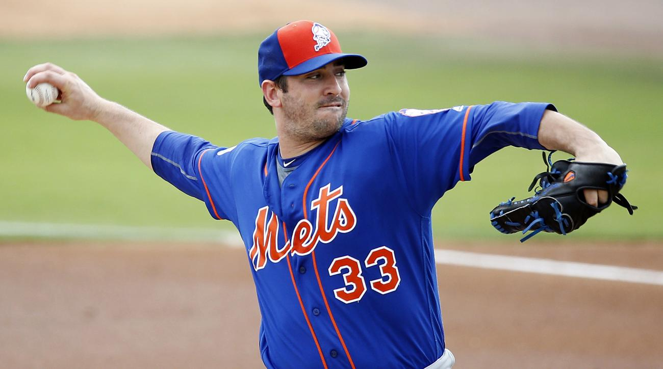 FILE - In this Sunday, March 13, 2016, New York Mets starter Matt Harvey pitches during the first inning of an exhibition spring training baseball game against the Miami Marlins in Jupiter, Fla. The Mets are giving the ball to Harvey, who will get another