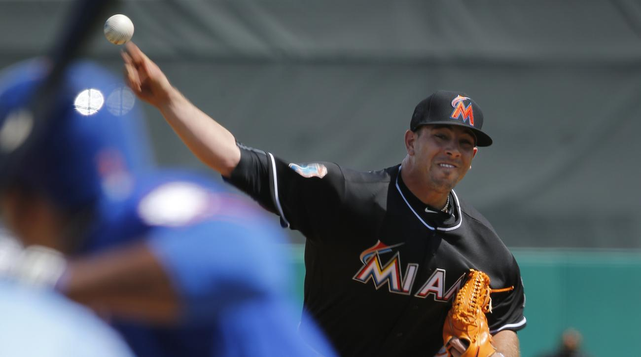 Miami Marlins starting pitcher Jose Fernandez delivers the ball during the first inning of an exhibition spring training baseball game against the New York Mets, Thursday, March 17, 2016, in Jupiter, Fla. (AP Photo/Brynn Anderson)