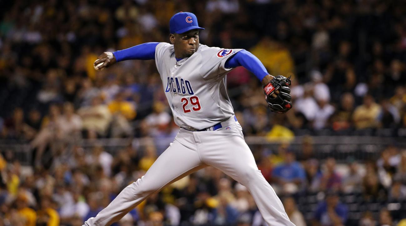 Chicago Cubs relief pitcher Rafael Soriano (29) delivers during the third inning of a baseball game against the Pittsburgh Pirates in Pittsburgh, Monday, Aug. 3, 2015. (AP Photo/Gene J. Puskar)