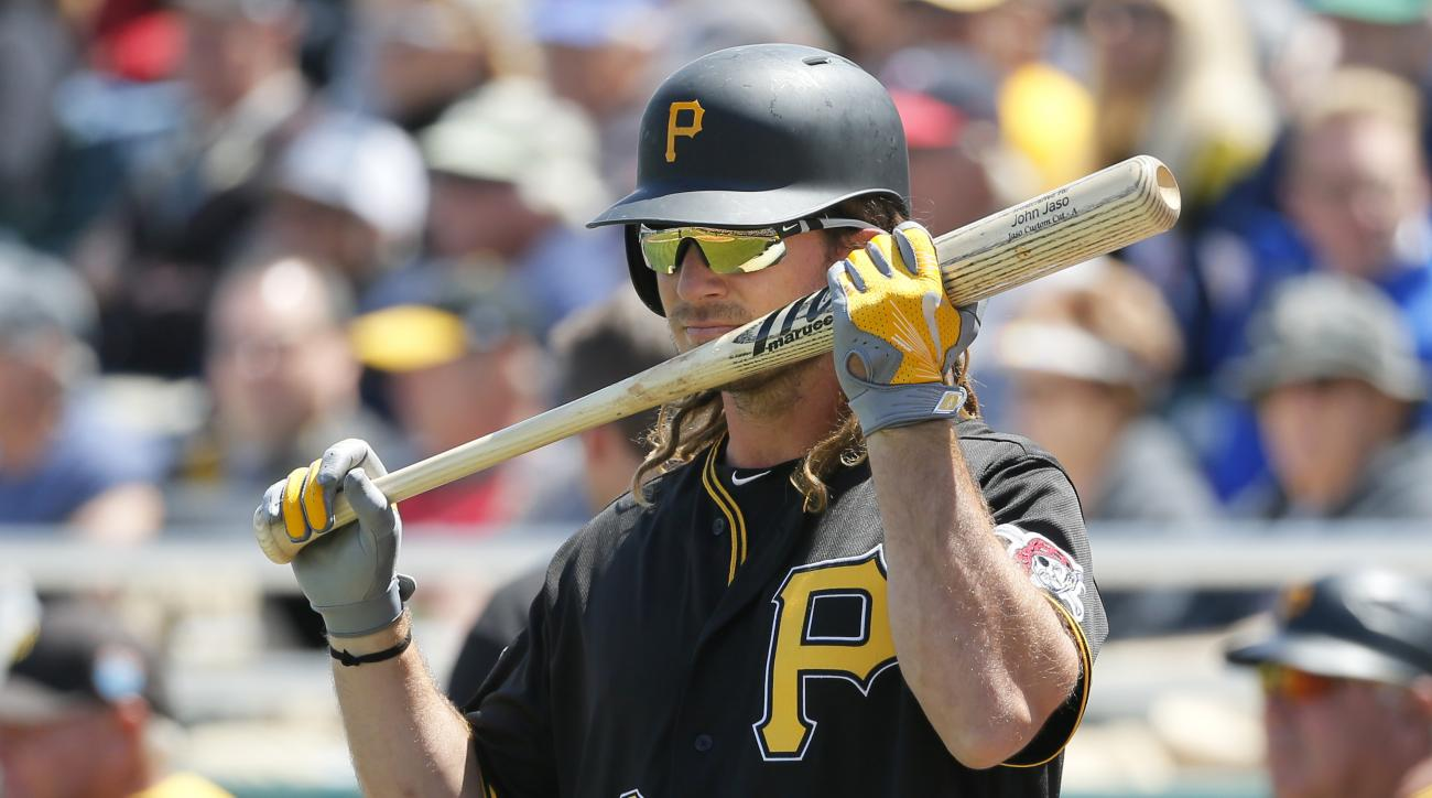 Pittsburgh Pirates' John Jaso (28) sniffs his bat before walking up to the plate for his at-bat in the first inning of an interleague spring training baseball game against the Minnesota Twins on Monday, March 21, 2016, in Fort Myers, Fla. (AP Photo/Tony G