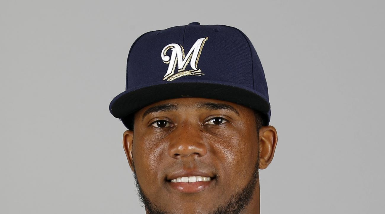 FILE - This is a 2016 file photo showing Rymer Liriano of the Milwaukee Brewers baseball team. The manager of the Brewers says outfielder Rymer Liriano is doing well a day after being hit in the face by a pitch. Liriano sustained multiple facial fractures