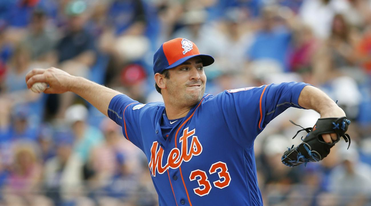 New York Mets' starting pitcher Matt Harvey throws during the first inning of an exhibition spring training baseball game against the Houston Astros, Thursday, March 24, 2016, in Port St. Lucie, Fla. (AP Photo/Brynn Anderson)