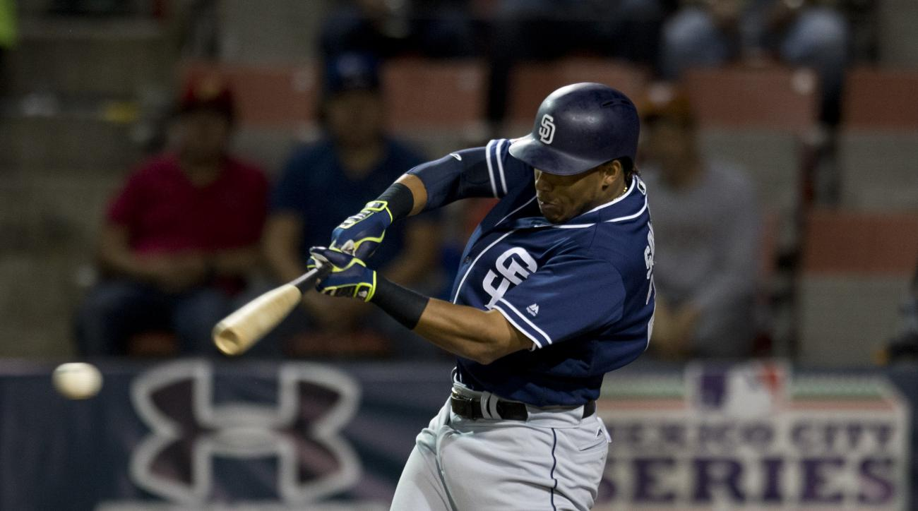 San Diego Padres' infielder Yangervis Solarte bats against the Houston Astros during a spring training baseball game in Mexico City, Saturday, March 26, 2016. (AP Photo/Eduardo Verdugo)