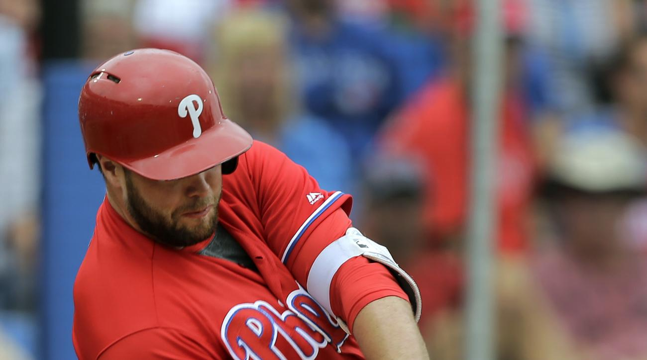Philadelphia Phillies' Darin Ruf connects for a home run off Toronto Blue Jays' Randy Choate during the seventh inning of a spring training baseball game Monday, March 28, 2016, in Dunedin, Fla. (AP Photo/Chris O'Meara)