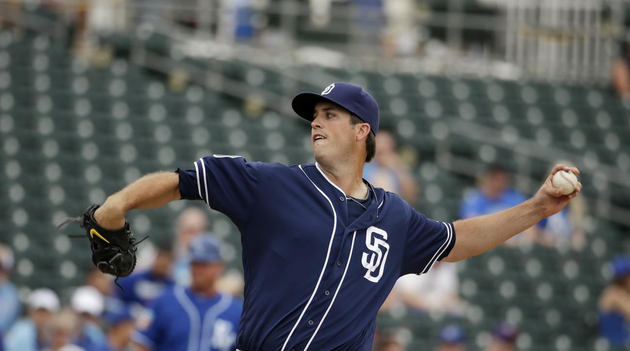 San Diego Padres' Drew Pomeranz throws during the first inning of a spring training baseball game against the Kansas City Royals, Monday, March 28, 2016, in Surprise, Ariz. (AP Photo/Darron Cummings)