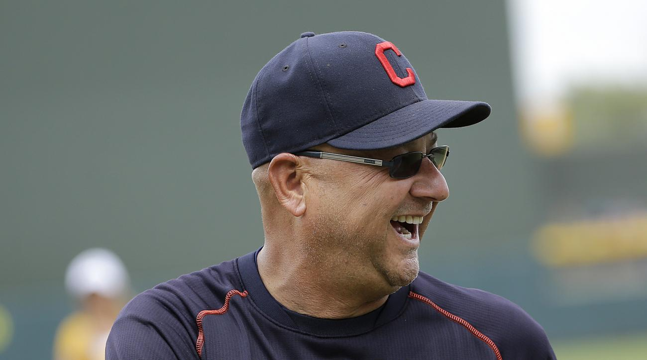 Cleveland Indians manager Terry Francona smiles before a spring training baseball game against the Oakland Athletics in Mesa, Ariz., Monday, March 28, 2016. (AP Photo/Jeff Chiu)