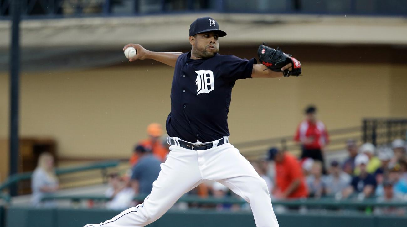 Detroit Tigers' Francisco Rodriguez pitches against the Toronto Blue Jays in the third inning of a spring training baseball game, Tuesday, March 29, 2016, in Lakeland, Fla. (AP Photo/John Raoux)