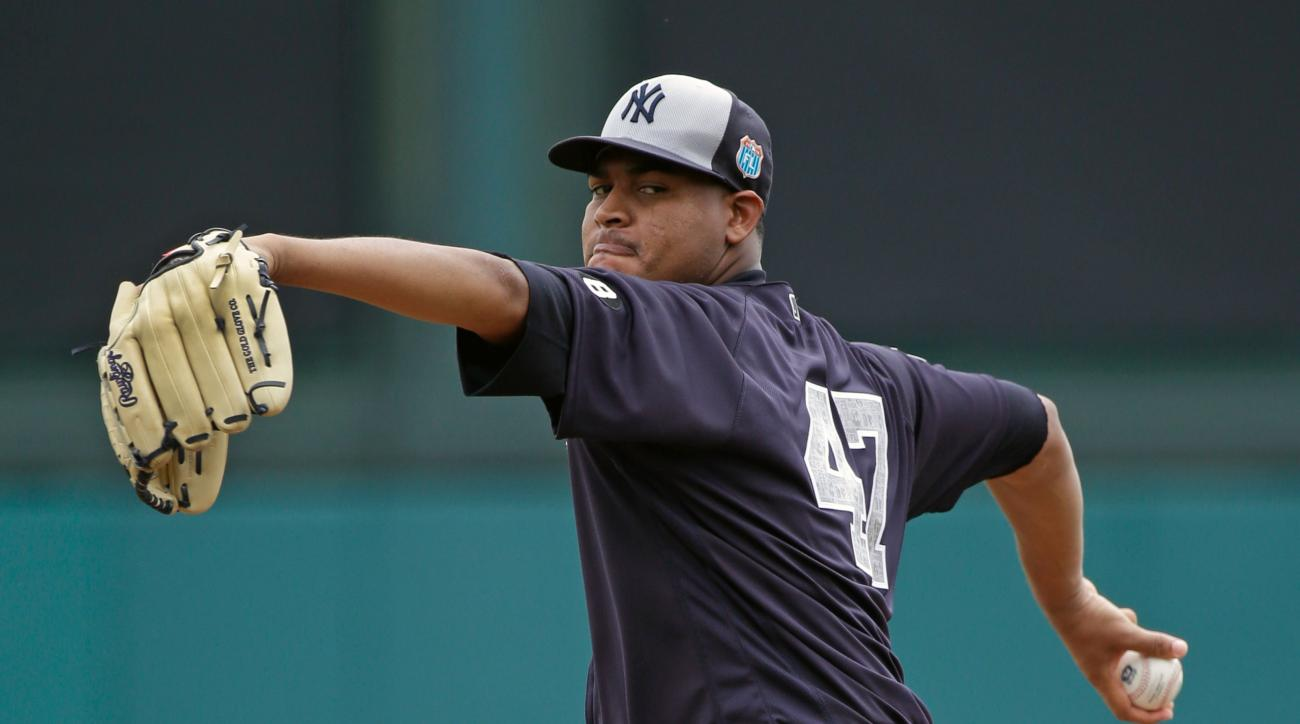 New York Yankees' Ivan Nova pitches in the first inning against the Atlanta Braves in a spring training baseball game, Wednesday, March 30, 2016, in Kissimmee, Fla. (AP Photo/John Raoux)
