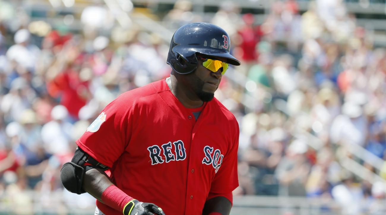 Boston Red Sox's David Ortiz approaches first as he rounds the bags after hitting a solo home run off a pitch from Minnesota Twins starting pitcher Kyle Gibson in the fifth inning of a spring training baseball game, Thursday, March 31, 2016, in Fort Myers