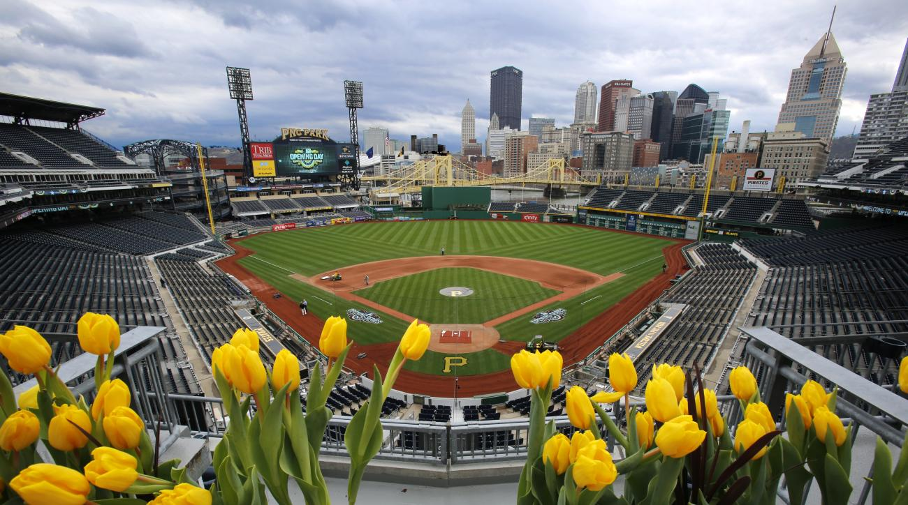 Tulips frame the field at PNC Park and the skyline of downtown Pittsburgh as pre-season preparations continue Friday, April 1, 2016. The Pittsburgh Pirates open the 2016 Major League Baseball season, Sunday, April 3, 2016 against the St. Louis Cardinals i