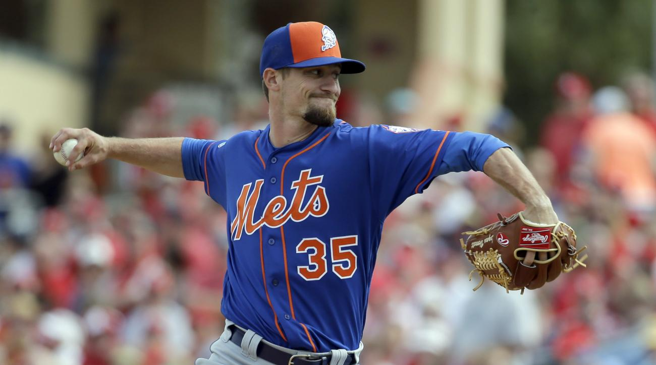 FILE - In this March 7, 2016, file photo, New York Mets pitcher Logan Verrett throws during the fourth inning of an exhibition spring training baseball game against the St. Louis Cardinals Monday, March 7, 2016, in Jupiter, Fla. Pitchers Jim Henderson and