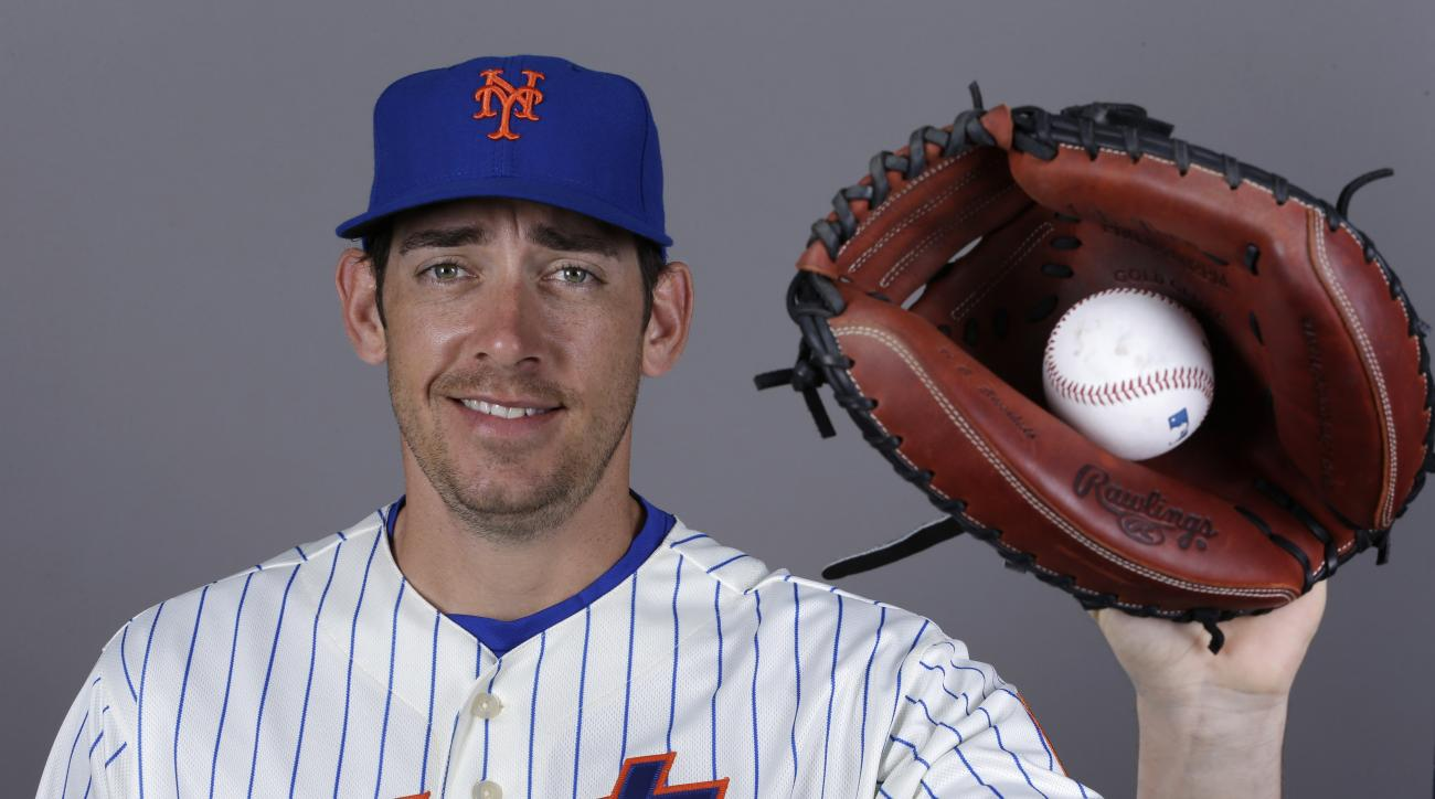 This is a Wednesday, Feb. 26, 2014 file photo of catcher Taylor Teagarden of the New York Mets baseball team. This image reflects the Mets active roster when this image was taken. Former major league catcher Taylor Teagarden, among the athletes accused of
