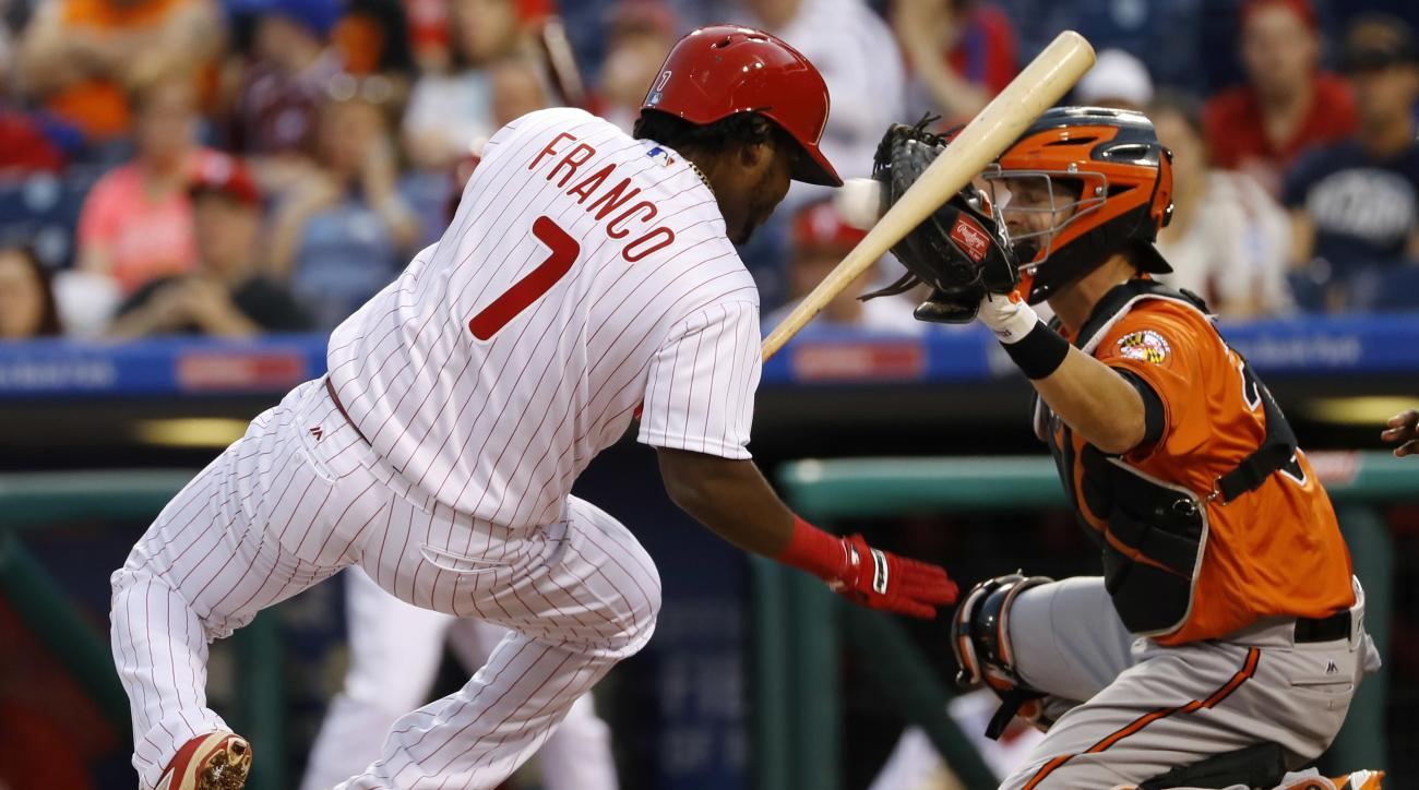 Philadelphia Phillies' Maikel Franco, left, dodges a pitch from Baltimore Orioles' Vance Worley as catcher Caleb Joseph, right, handles the throw during the first inning of an exhibition baseball game, Friday, April 1, 2016, in Philadelphia. (AP Photo/Mat
