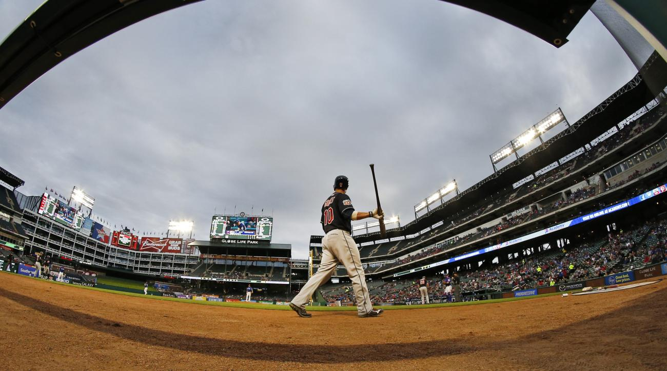 Cleveland Indians Yan Gomes walks to the on-deck circle during the first inning against the Texas Rangers in an exhibition baseball game Friday April 1, 2016, in Arlington, Texas. (AP Photo/Ron Jenkins)