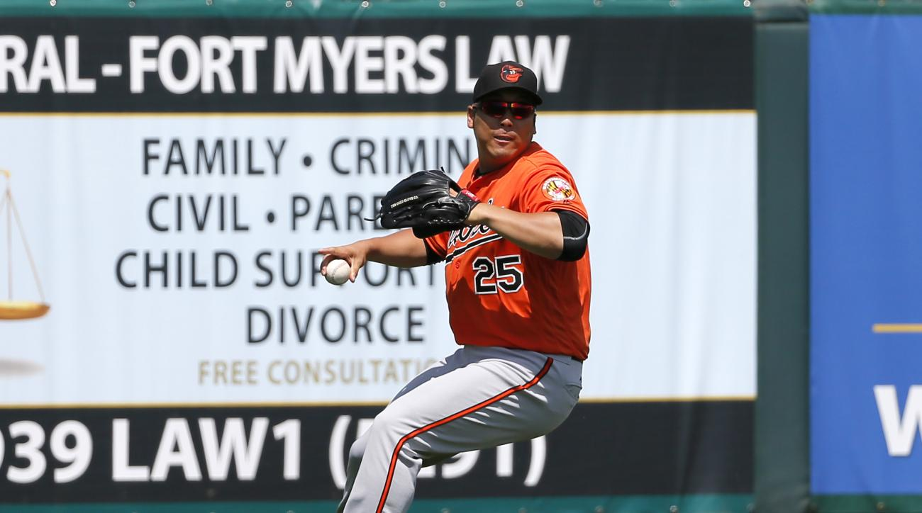 FILE - In this March 13, 2016, file photo, Baltimore Orioles left fielder Hyun Soo Kim (25) fields a single hit by Minnesota Twins' John Ryan Murphy during a spring training baseball game in Fort Myers , Fla. South Korean outfielde Kim has made the Oriole