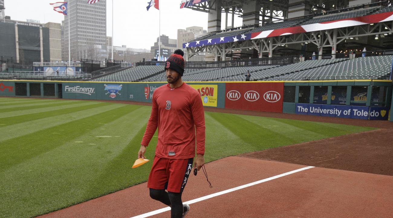 Boston Red Sox' Chris Young walks on the field before a baseball game between the Red Sox and the Cleveland Indians, Monday, April 4, 2016, in Cleveland. (AP Photo/Tony Dejak)