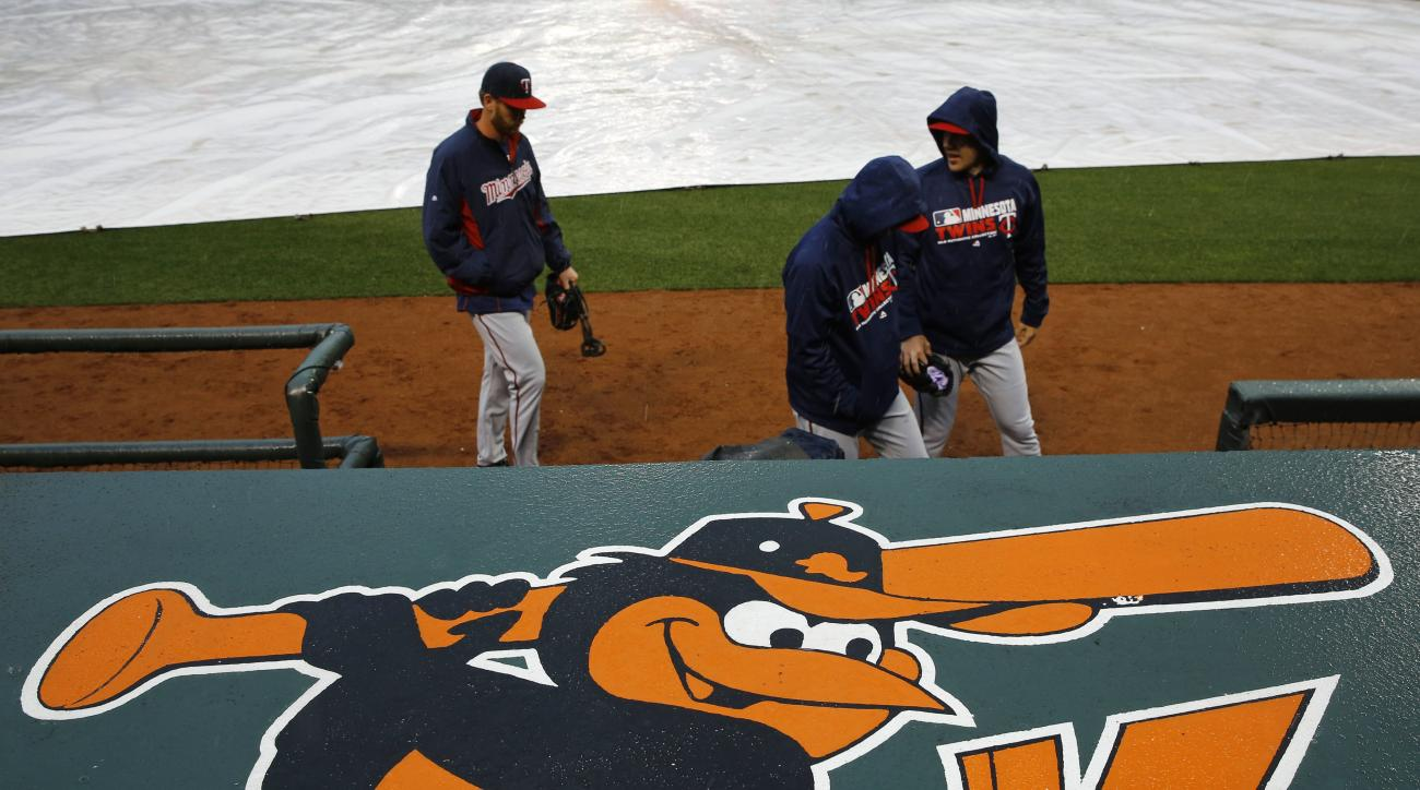 Members of the Minnesota Twins walk past a tarp-covered infield during a rain delay in an opening day baseball game at bat in Baltimore, Monday, April 4, 2016. (AP Photo/Patrick Semansky)