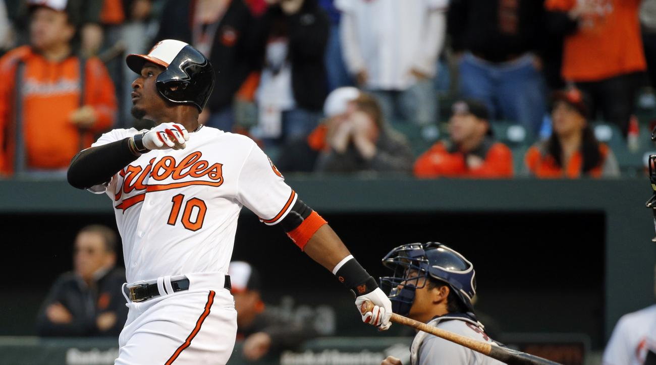 Baltimore Orioles' Adam Jones, left, doubles in front of Minnesota Twins catcher Kurt Suzuki in the fifth inning of an opening day baseball game in Baltimore, Monday, April 4, 2016. Manny Machado and Joey Rickard scored on the play. (AP Photo/Patrick Sema