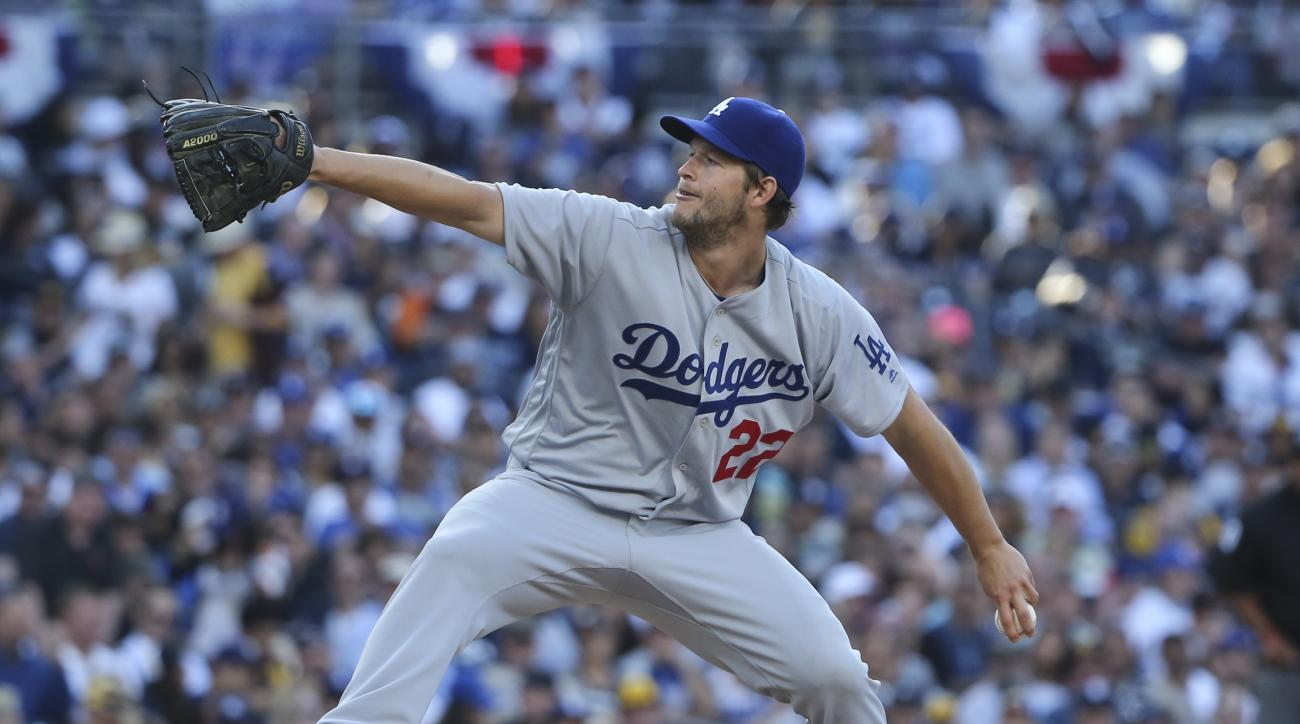 Los Angeles Dodgers starting pitcher Clayton Kershaw works against the San Diego Padre in the fifth inning of a baseball game Monday, April 4, 2016, in San Diego. (AP Photo/Lenny Ignelzi)