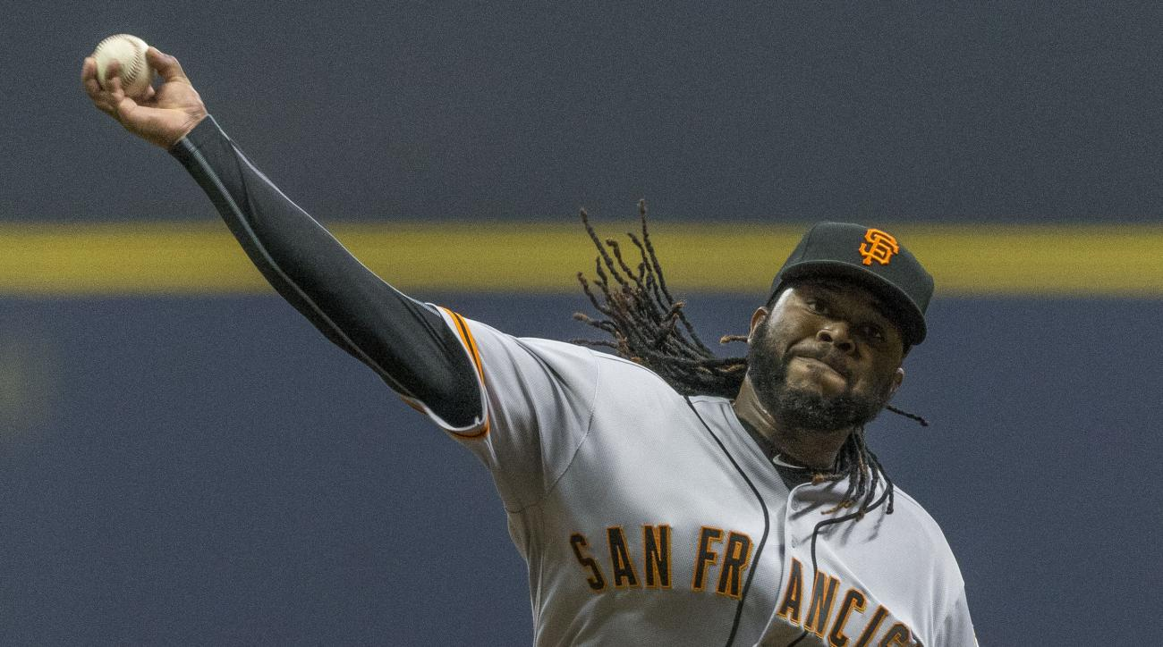 San Fransisco Giants' Johnny Cueto pitches to a Milwaukee Brewers batter during the first inning of a baseball game Tuesday, April 5, 2016, in Milwaukee. (AP Photo/Tom Lynn)