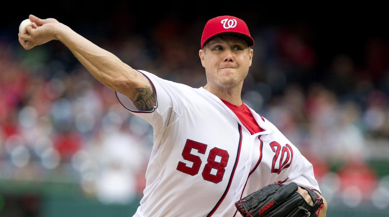 FILE - In this Sept. 27, 2015 file photo, Washington Nationals relief pitcher Jonathan Papelbon pitches against the Philadelphia Phillies at Nationals Park in Washington. At some point during the Washington Nationals' first homestand of the season, odds a