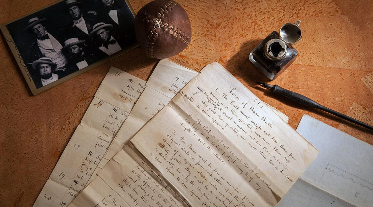 This Feb. 11, 2016 photo provided by SCP Auctions shows the 1857 documents titled Rules of Base Ball. Baseball may have found its birth certificate. And with it a new birth date, and new founding father. Coinciding with the start of the professional baseb
