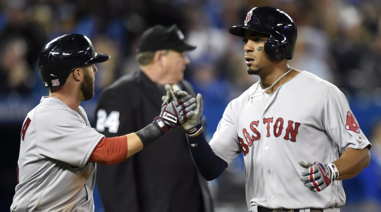 Boston Red Sox' Dustin Pedroia, left, congratulates teammate Xander Bogaerts after scoring during the fifth inning of a baseball game against the Toronto Blue Jays in Toronto, Saturday, April 9, 2016. (Frank Gunn/The Canadian Press via AP) MANDATORY CREDI